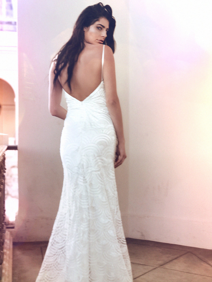 Low back sheath beaded wedding dress with art deco patterning by Lauren Elaine Bridal