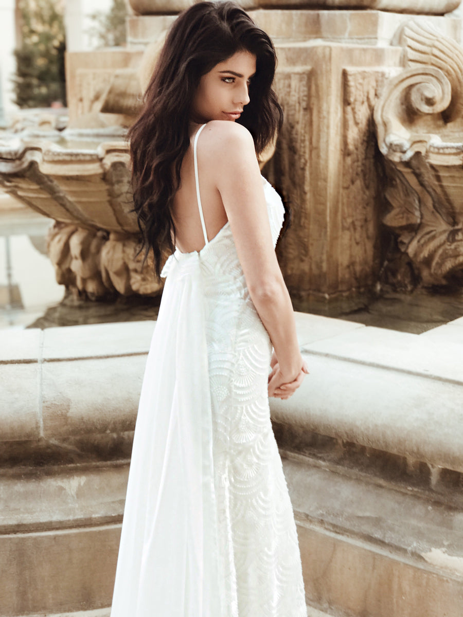 Bohemian wedding dress with bead and embroidery detailing and detachable watteau train