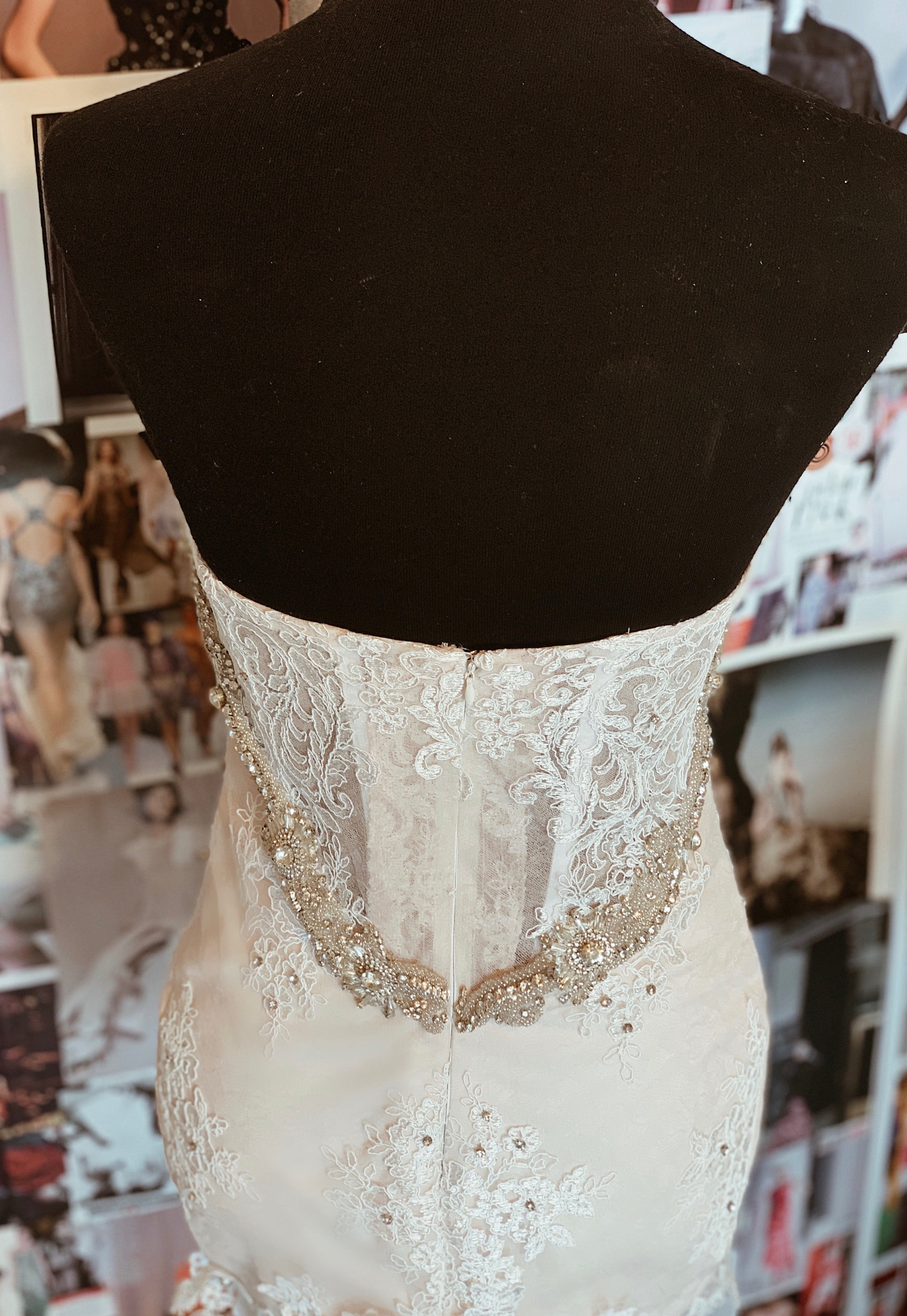 SAMPLE SALE: Custom Crystal and Lace Mermaid with Detachable Train