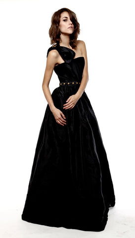 Silk gold studded gown. Lauren Elaine Bardot gown. Made in the USA.