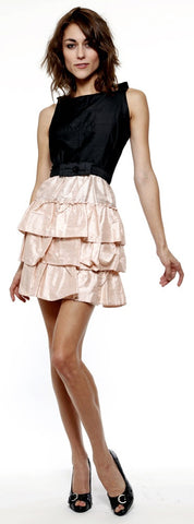Silk dress with tier ruffles. Made in the USA. Bridesmaid dresses.