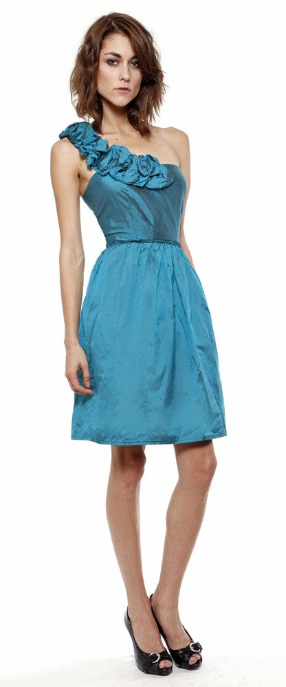 Lauren Elaine Clare dress made in the USA. Silk one shoulder ruffle party frock.