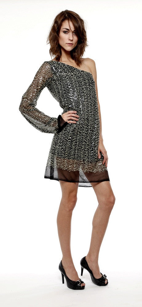 Red carpet sequin mini dress. One sleeve cocktail dress.