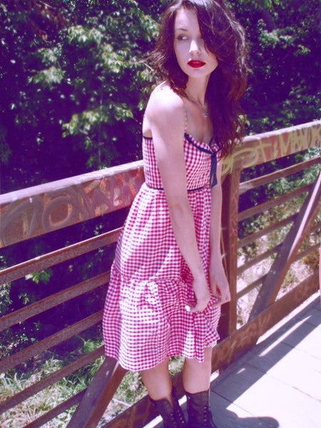 Cherry gingham dress. Sweetheart bodice with denim trim.