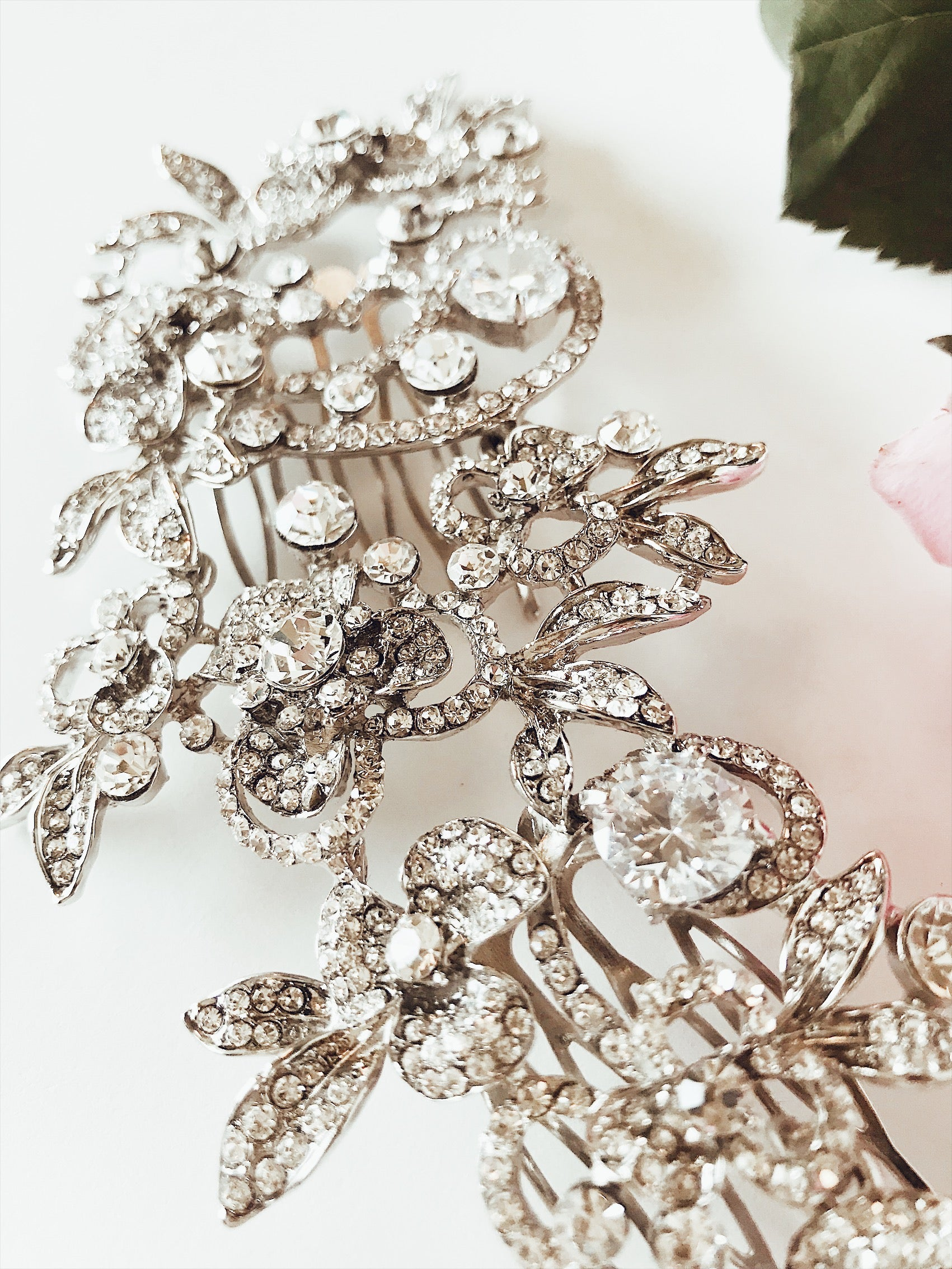 Crystal encrusted bridal hair comb with art-deco patterning by Lauren Elaine Bridal Accessories