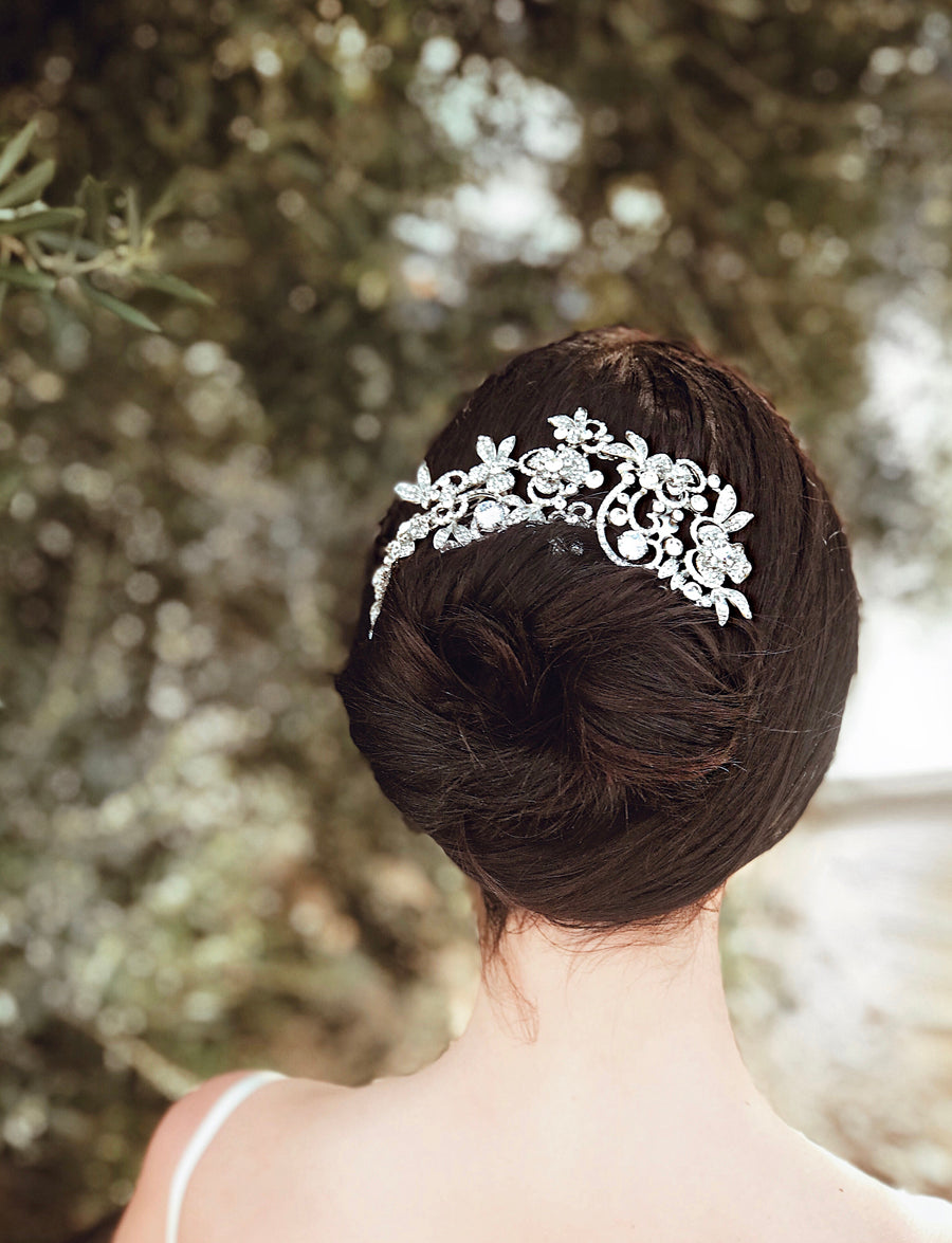 Art deco inspired crystal bridal hair comb and tiara from Lauren Elaine Bridal Accessories