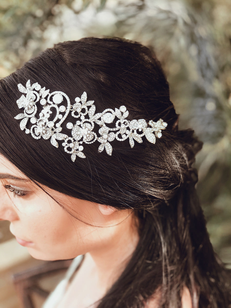 Crystal bridal hair comb tiara from Lauren Elaine Bridal Accessories