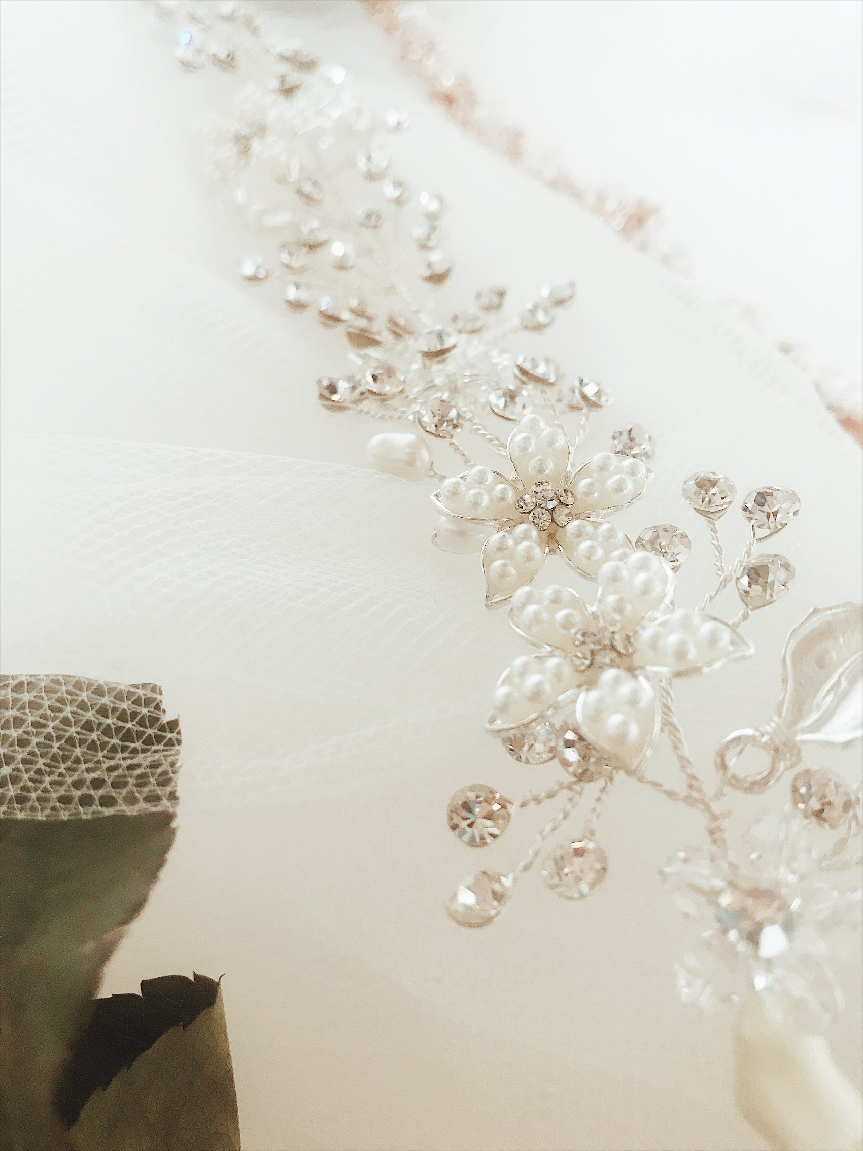 "Details of the Lauren Elaine ""Verbena"" crystal and pearl bridal hair vine and bridal flower crown"