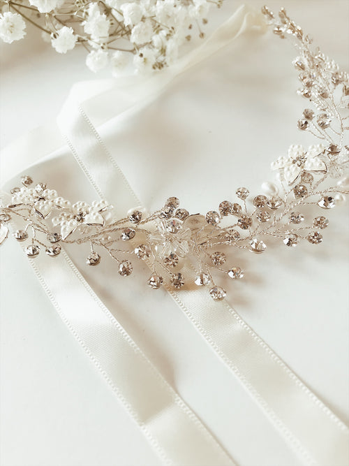 Pearl and crystal silver bridal hair vine and wedding flower crown from Lauren Elaine Accessories