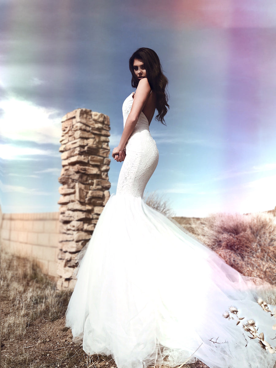 Sexy fishtail mermaid wedding dress with cathedral train and sparkling lace crystal details and open back.