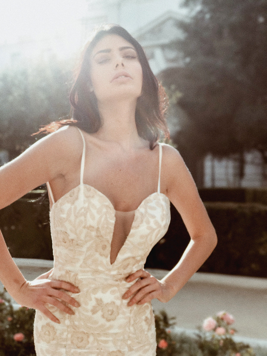 Deep V illusion neck form fit sexy wedding dresses by Lauren Elaine Bridal Los Angeles
