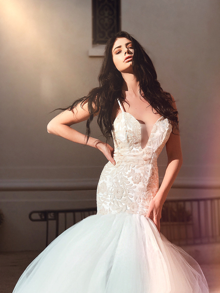 Blush sequin mermaid wedding dress with deep v illusion neckline