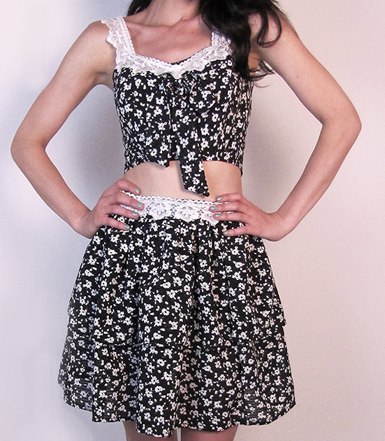 Laine Lucy skirt. Made in the USA. Thigh high boho chic skirt.