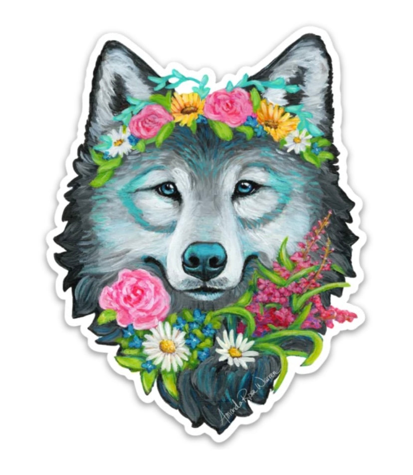 Wolf Flower Crown Sticker