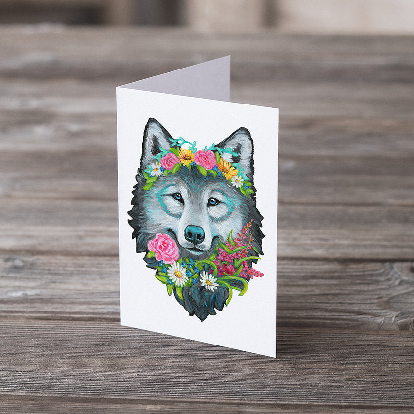Wolf Flower Crown Greeting Card