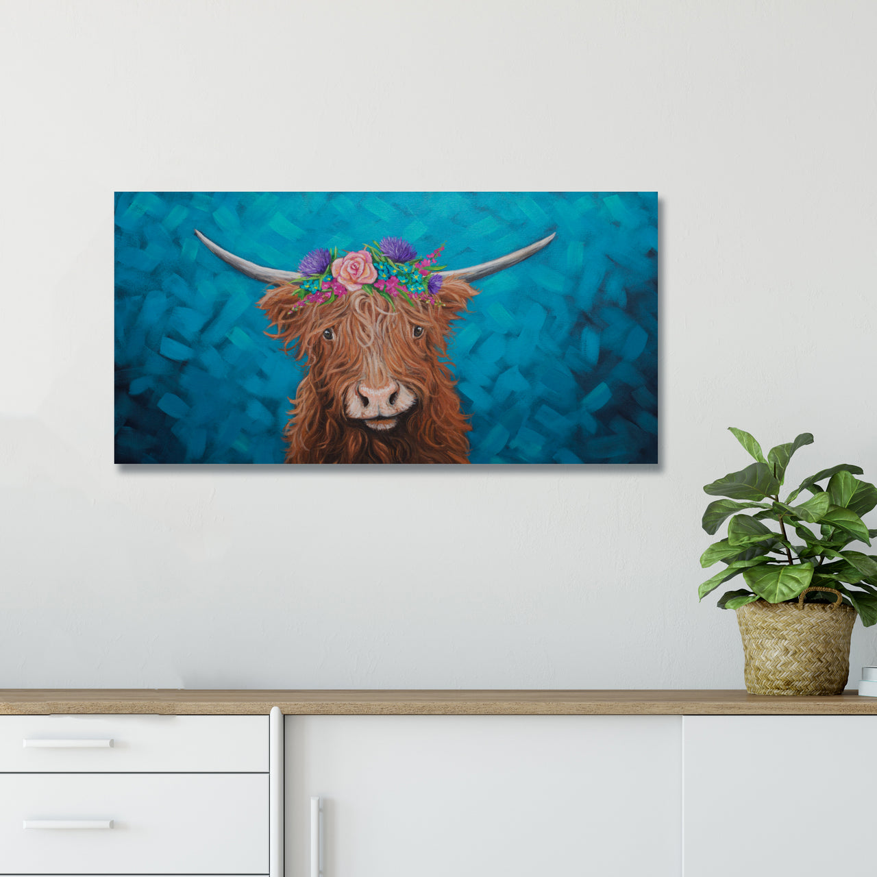 Highland Cow with Flower Crown Art Print