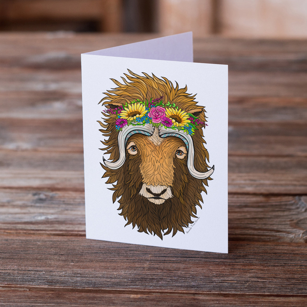Musk Ox Flower Crown Greeting Card