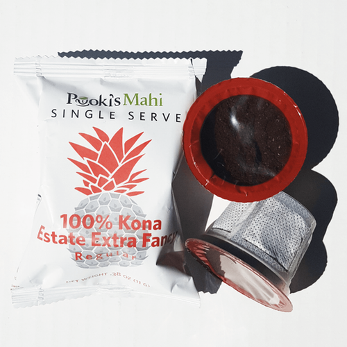 Pooki's Mahi 100 Kona Extra Fancy coffee subscription box with free expedite shipping.