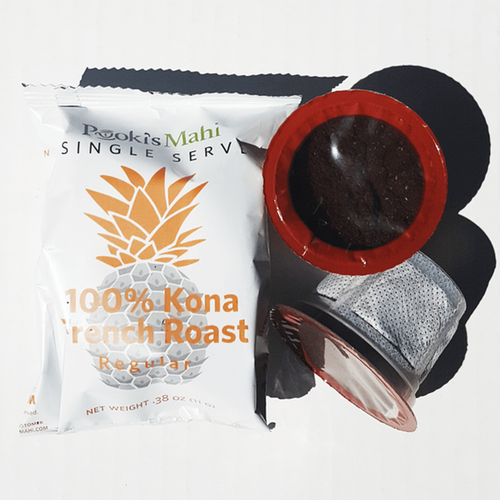 Pooki's Mahi 100 Kona French Roast coffee subscription box with free expedited shipping.