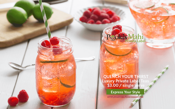Quench your thirst with Pooki's Mahi private label custom tea blends.
