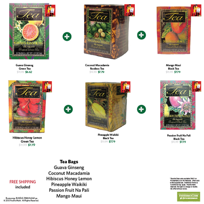 Pooki's Mahi Bundle #9A:  6 Hawaii's Tropical Flavored Teas, Tea bags