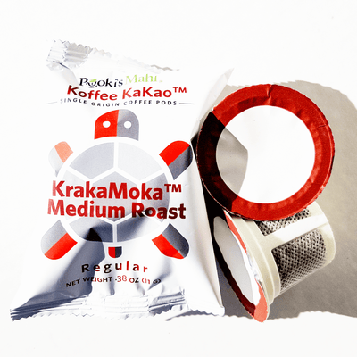Pooki's Mahi Koffee KaKao™ KrakaMoka™ - Bold, robust, dark chocolate, light aftertaste.