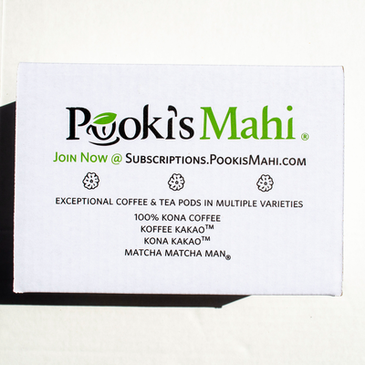 Pooki's Mahi® Kona Kafpresso™ 100 Kona DECAF Coffee in 100% recyclable capsules available as coffee subscription, wholesale coffee club or VIP distributor reseller. Hawaii Kona coffee Nespresso, Nespresso coffee pods, coffee for Keurig CA Prop 65.