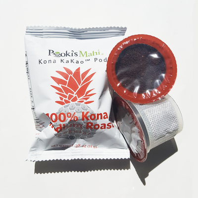 Pooki's Mahi 100% Kona coffee pods for single serve coffee makers