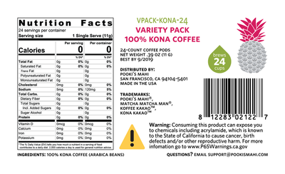 Kona KaKao™ Pooki's Mahi 100 Kona Variety Pack coffee pods Nutrition, CA Prop 65 packaging product label for private label coffee pods capsules.