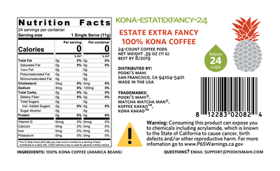 Koffee KaKao™ Pooki's Mahi 100 Percent Kona Extra Fancy coffee pods Nutrition, CA Prop 65 Product Label