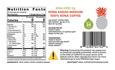 Kona KaKao™ Pooki's Mahi 100 Kona coffee pods capsules Nutrition, CA Prop 65 packaging product label