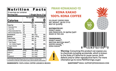 Kona KaKao™ Pooki's Mahi 100 Kona KaKao coffee compostable pods with CA Prop 65 Packaging Nutrition, CA Prop 65 product label