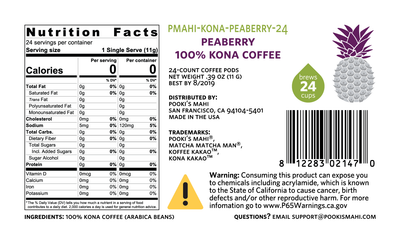 Kona KaKao™ Pooki's Mahi Peaberry 100 Kona coffee pods Nutrition, CA Prop 65 packaging, private label coffee product label