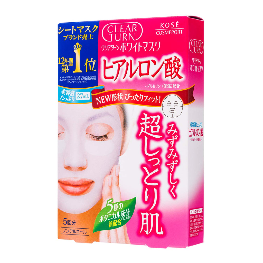 KOSE Clear Turn White Face Mask Hyaluronic Acid 5 Sheets