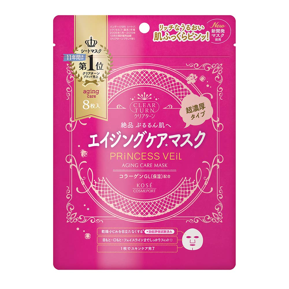 KOSE Clear Turn Princess Veil Aging Care Face Mask 8 Sheets