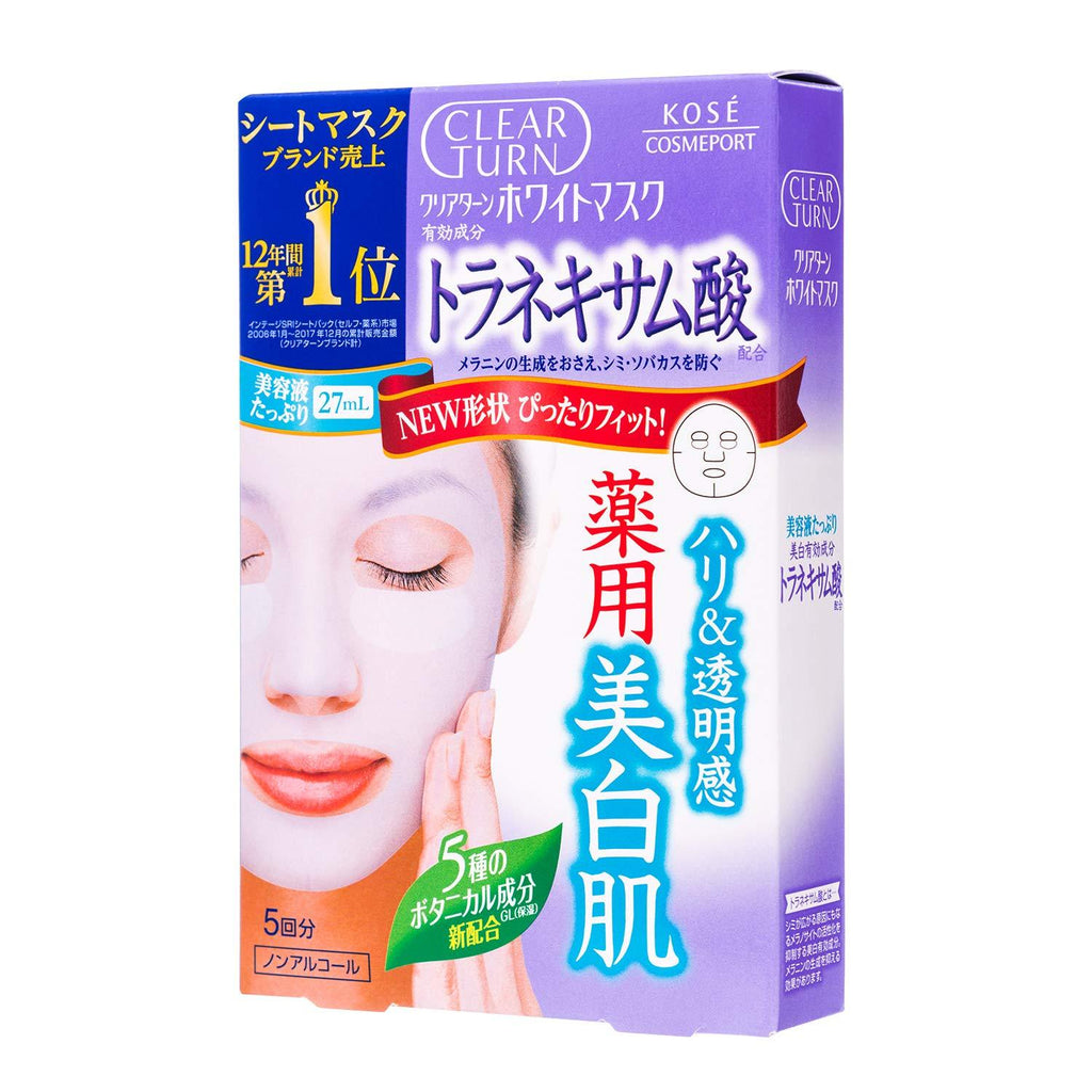 Kose Clear Turn White Face Mask Tranexamic Acid 5 Sheets