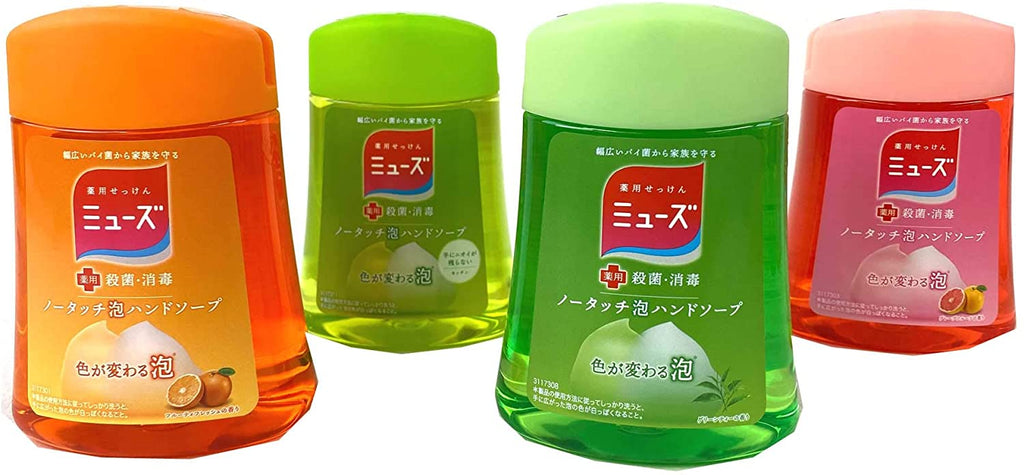 Muse No Touch Foaming Hand Soap Refill Set (Fruity Fresh / Kitchen/Green Tea/Grapefruit) (250 ml) x 4