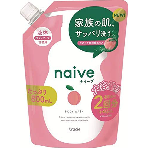 Naive Peach Extract Body Soap Shampoo Refill Type 800ml