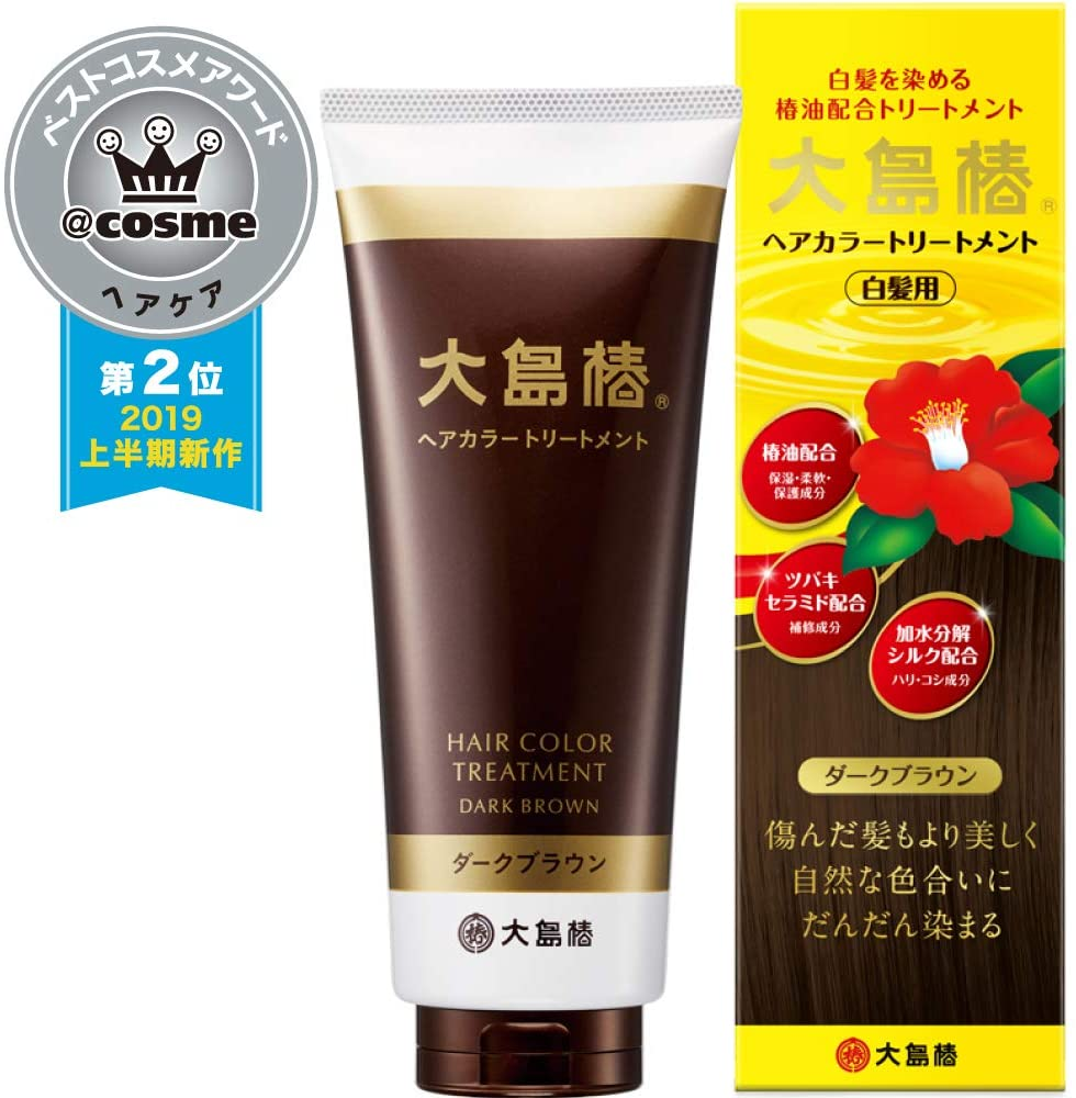 Oshima Tsubaki Hair Color Treatment Dark Brown 180 g