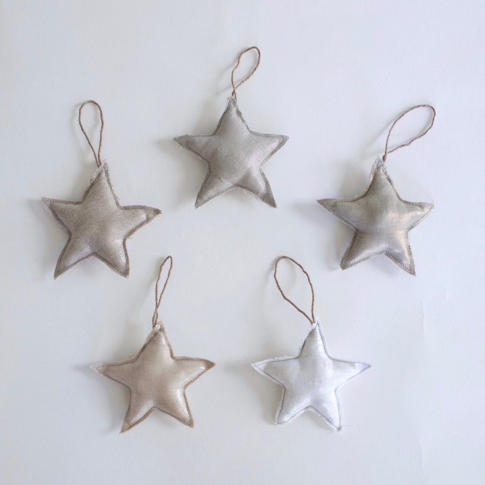 Linen Christmas Star Ornaments