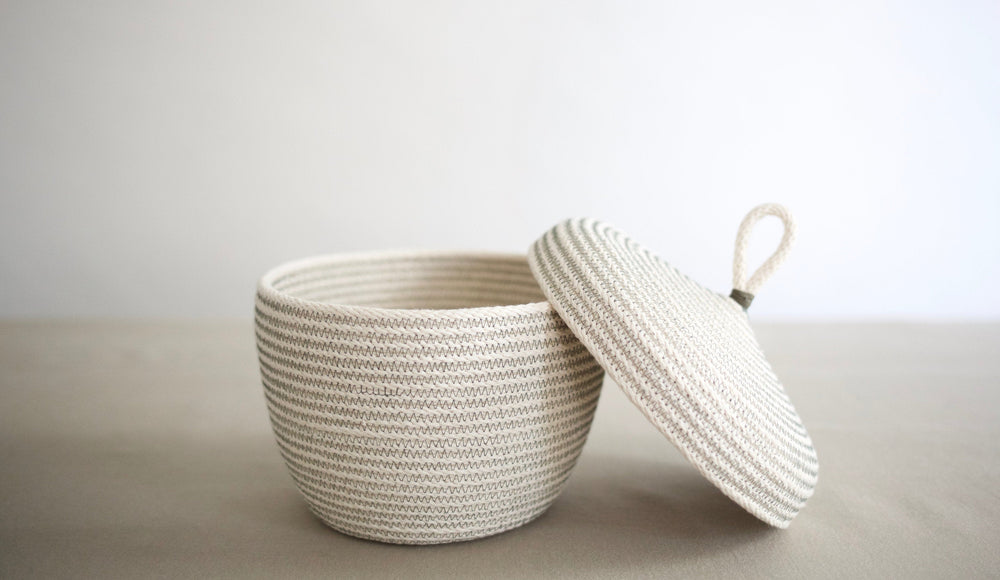Sage Rope Lidded Basket