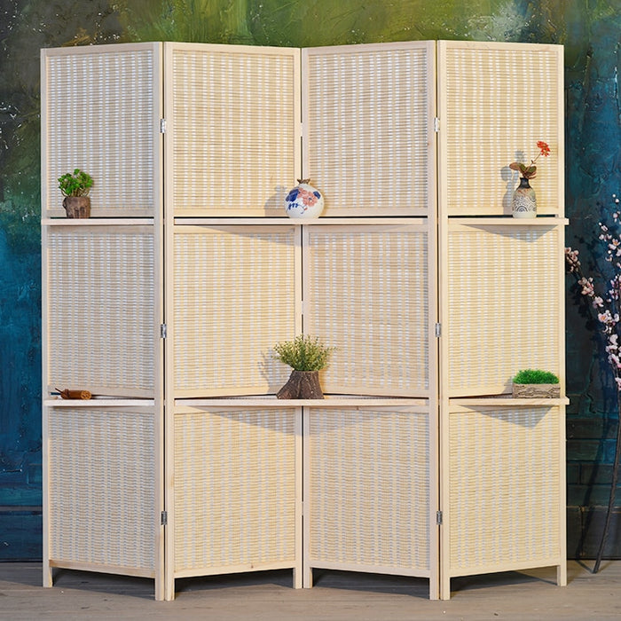 Bamboo Wall Divider with Shelves