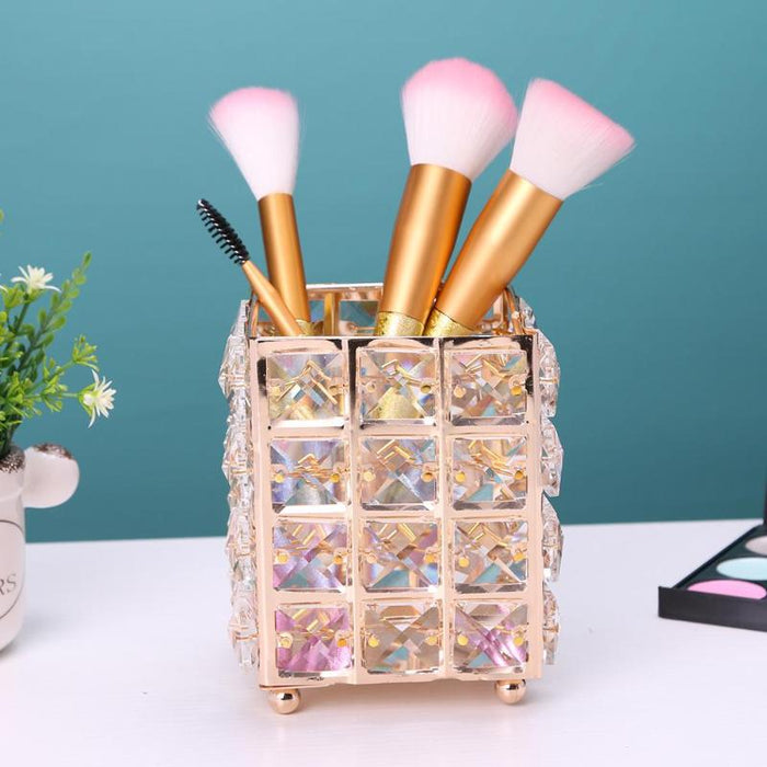 Crystal Metal Makeup Brush Organizer