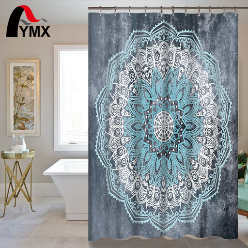 Lotus Printed Bathroom Curtain