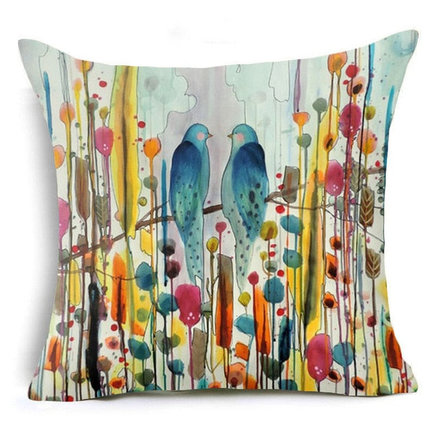 Watercolor Floral Cushion Cover