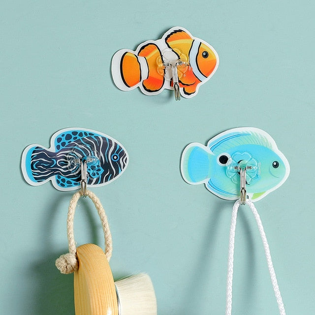 6PCS Fish Self Adhesive Hooks