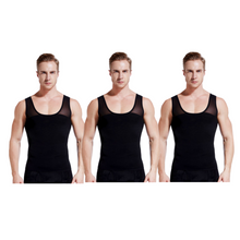 Load image into Gallery viewer, gynecomastia-solutions - Gynecomastia Vest for Man Boob Chest Compression - Black - 3 Pack