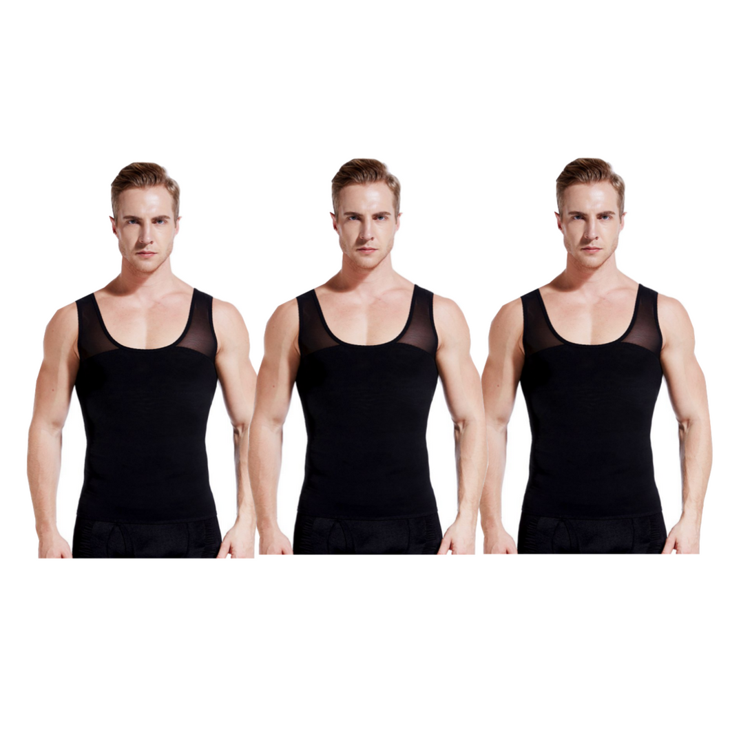 gynecomastia-solutions - Gynecomastia Vest for Man Boob Chest Compression - Black - 3 Pack