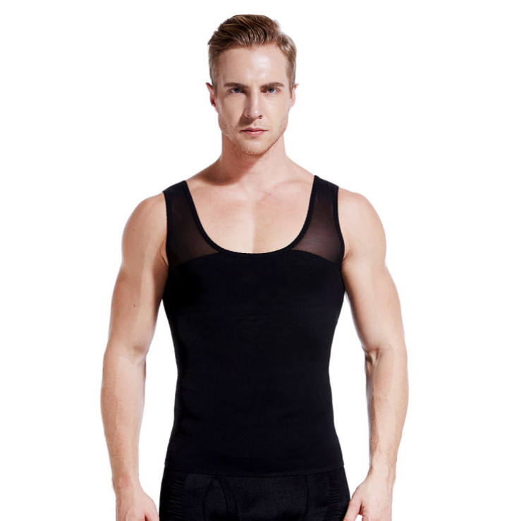 Compression Vest for Man Boobs | Black