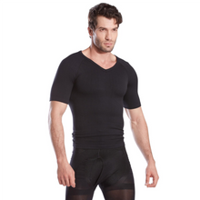 Load image into Gallery viewer, Gynecomastia Short Sleeve Chest Compression Shirt - Black | Gynecomastia Solutions